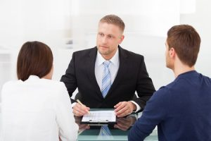 couple consulting divorce attorney
